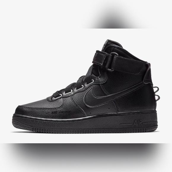 Nike Af1 Hi UT High Utility Air Force 1 Triple Black Aj7311 001 Women's Size 7.5